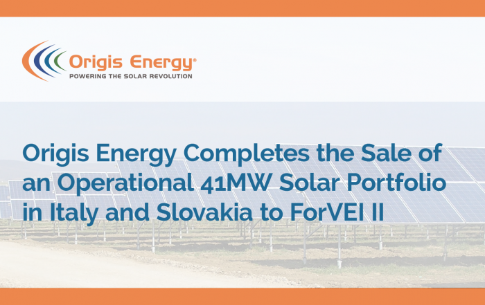 Origis Energy completes the sale of an operational 41MW solar portfolio in Italy and Slovakia to ForVEI II